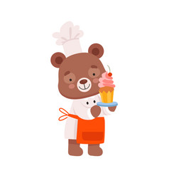 Smiling bear character wearing chef uniform vector