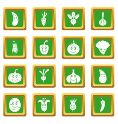 smiling vegetables icons set green vector image
