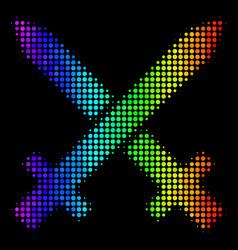 Spectrum pixel crossing swords icon vector