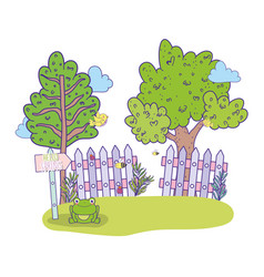 spring and exotic trees with wood grillage vector image