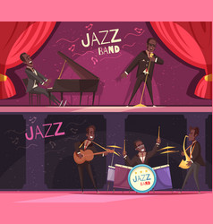 stage jazz banners set vector image