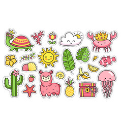 Summer stickers set of cartoon patches badges vector