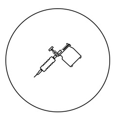 Tattoo machines black icon outline in circle image vector