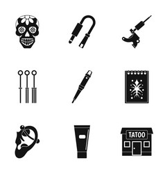 tattoo salon icon set simple style vector image