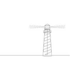 the lighthouse continuous line graphic vector image