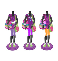 Three black mannequins with bright multicolored vector