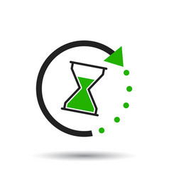 time icon flat with hourglass on white background vector image