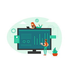 tiny business people doing marketing financial vector image