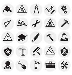 tools and construction set on circles white vector image