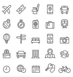 travel booking line icons vector image