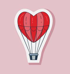 Valentine day air balloon line art sticker vector