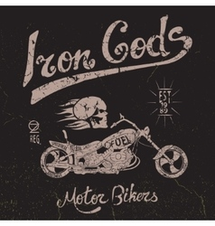 Vintage label with skull and motorcycle vector image