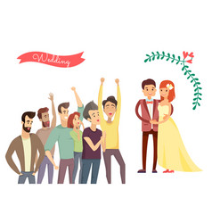 wedding poster and crowd vector image