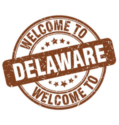 Welcome to delaware brown round vintage stamp vector