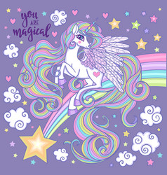 white unicorn with a long mane tail on a night vector image
