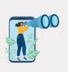 Woman holding binoculars and look thought vector