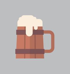 wooden beer mug icon oktoberfest festival concept vector image