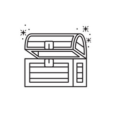 wooden chest fantasy line design vector image