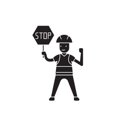 worker with a stop sign black concept icon vector image