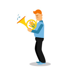 Young musician playing french horn cartoon vector