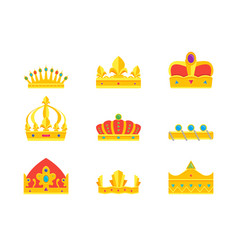 Cartoon royal golden crown icons set vector