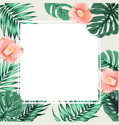 Exotic tropical square border frame beige camelia vector