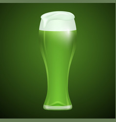 glass of green beer vector image vector image