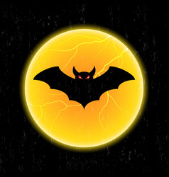 halloween bat fly and moon vector image