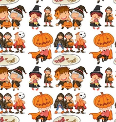 Seamless halloween theme with children in costume vector image vector image