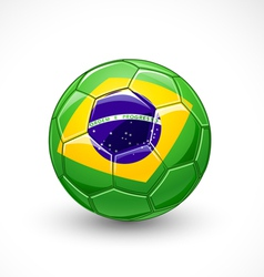 Soccer ball with brazil flag vector image