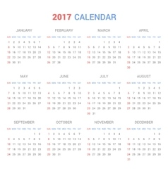 Calendar Template for 2017 on White Background vector image