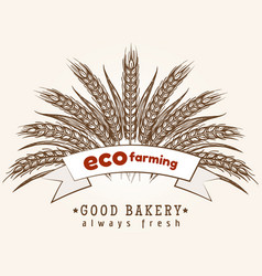 eco farming emblem with wheat ears vector image