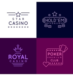 Gambling emblems of Poker club and casino vector image
