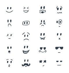 Set of hand drawn smiley faces Sketched facial vector image vector image