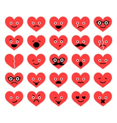set of Valentine hearts smiles in different emotio vector image