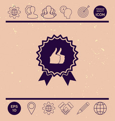 two symbols thumb up gesture - label with ribbons vector image vector image