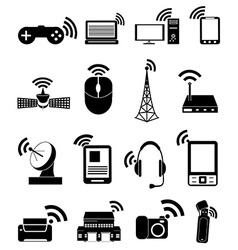 Wireless technology icons set vector