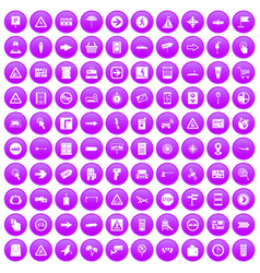 100 pointers icons set purple vector image vector image