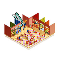 Food court isometric composition vector