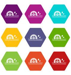 Waterwheel icon set color hexahedron vector