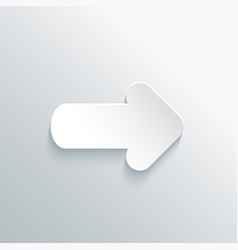 white paper cut arrow with shadow vector image vector image