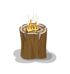 alight stump isolated firewood vector image vector image