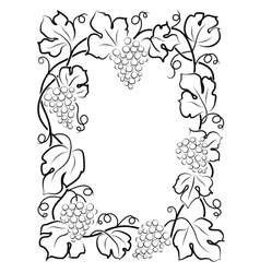 black calligraphy frame wine label vine grapes vector image