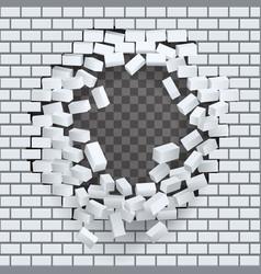 break hole in brick wall destruction template vector image