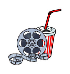cinema attributes film reel and soda water in vector image vector image