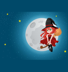 cute cartoon witch flying with her broom during vector image vector image