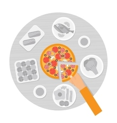 Hand taking slice of pizza from the table Flat vector image