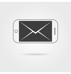 inverted black smartphone and letter icon with vector image
