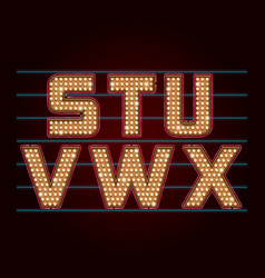 Retro Light Bulb Font from S to X vector image vector image