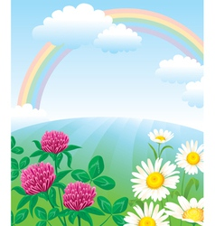 Summer landscape with rainbow vector image